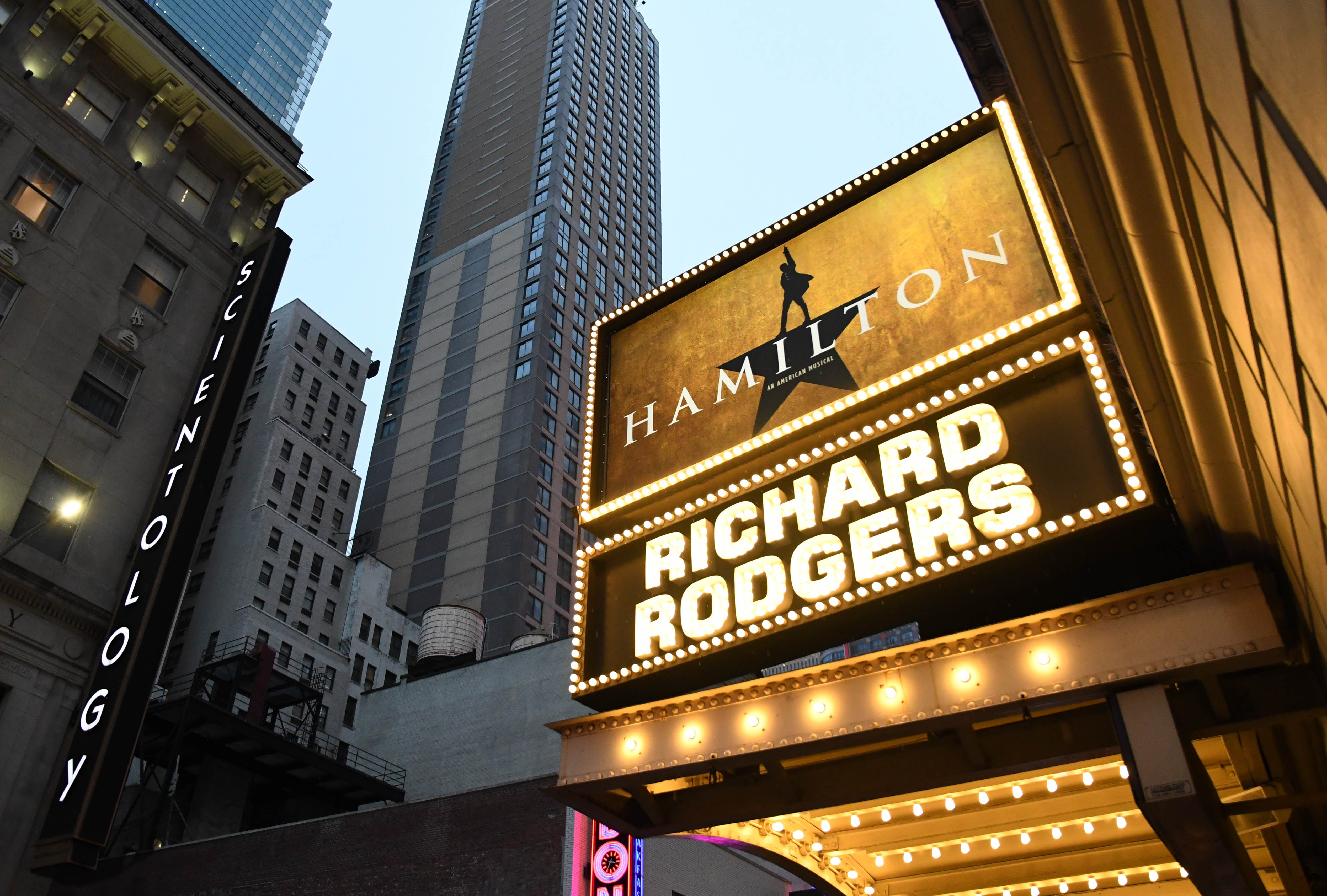 picture of broadway board featuring Hamilton