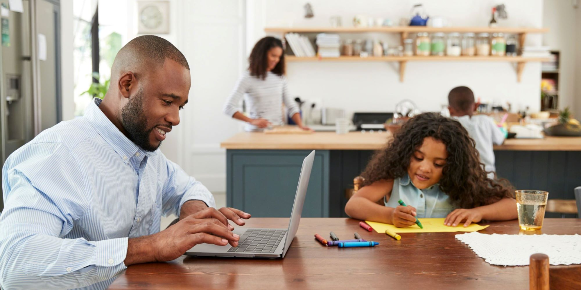 family working and learning from home